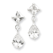 Sterlng Silver Clear CZ Dangle Earrings