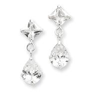 Sterlng Silver Clear CZ Dangle Earrings