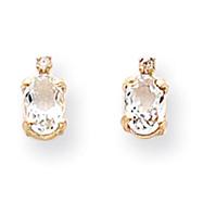 14K Gold Diamond & White Topaz Birthstone Pendant
