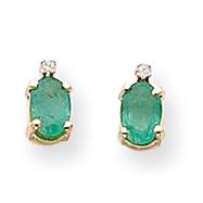 14K Gold Diamond & Emerald Birthstone Pendant