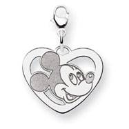 14K White Gold Disney Mickey Heart Lobster Clasp Charm