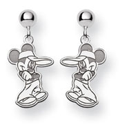 14K White Gold Disney Mickey Dangle Post Earrings