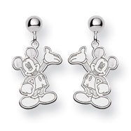 14K White Gold Disney Waving Mickey Dangle Post Earrings