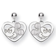 14K White Gold Disney Mickey Heart Dangle Post Earrings
