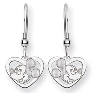 14K White Gold Disney Mickey Heart Dangle Wire Earrings