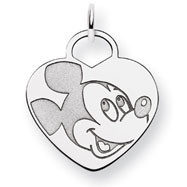 14K White Gold Disney Mickey Heart Charm