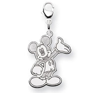 14K White Gold Disney Waving Mickey Lobster Clasp Charm