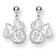 14K White Gold Disney Minnie Dangle Post Earrings