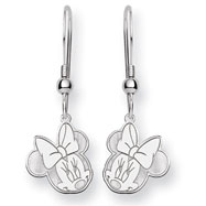 14K White Gold Disney Minnie Dangle Wire Earrings