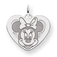 14K White Gold Disney Minnie Heart Charm
