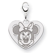 14K White Gold Disney Minnie Heart Lobster Clasp Charm