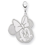 14K White Gold Disney Minnie Lobster Clasp Charm