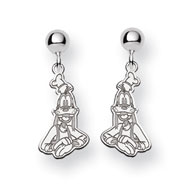 14K White Gold Disney Goofy Dangle Post Earrings