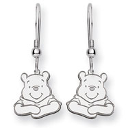14K White Gold Disney Winnie the Pooh Dangle Wire Earrings