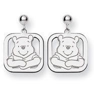 14K White Gold Disney Winnie the Pooh Dangle Post Earrings