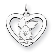14K White Gold Disney Piglet Heart Charm