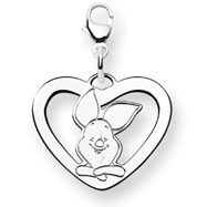 14K White Gold Disney Piglet Heart Lobster Clasp Charm