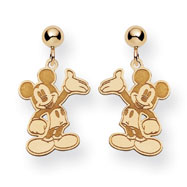 14K Gold Disney Waving Mickey Dangle Post Earrings