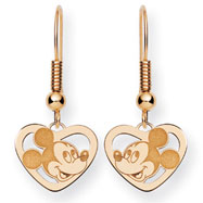 14K Gold Disney Mickey Heart Dangle Wire Earrings