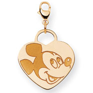 14K Gold Disney Mickey Heart Lobster Clasp Charm