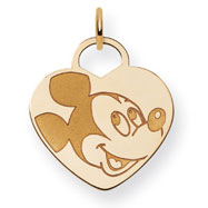 14K Gold Disney Mickey Heart Charm