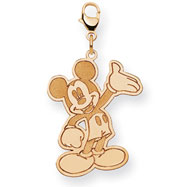 14K Gold Disney Waving Mickey Lobster Clasp Charm