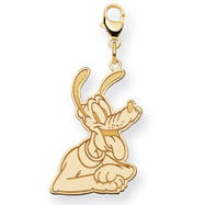 14K Gold Disney Pluto Lobster Clasp Charm