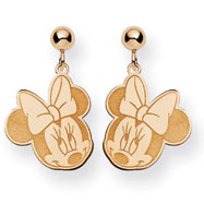 14K Gold Disney Minnie Dangle Post Earrings