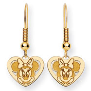 14K Gold Disney Minnie Dangle Wire Earrings