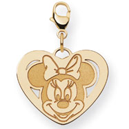 14K Gold Disney Minnie Heart Lobster Clasp Charm