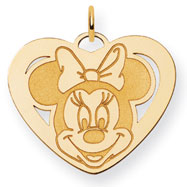 14K Gold Disney Minnie Heart Charm