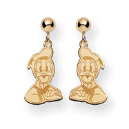14K Gold Disney Donald Duck Dangle Post Earrings