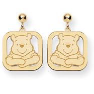 14K Gold Disney Winnie The Pooh Dangle Post Earrings