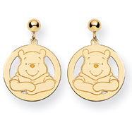 14K Gold Disney Winnie The Pooh Dangle Post Earrings