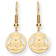 14K Gold Disney Winnie The Pooh Dangle Wire Earrings