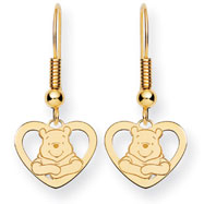 14K Gold Disney Winnie The Pooh Heart Dangle Wire Earrings