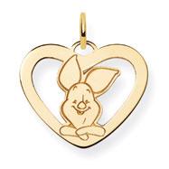 14K Gold Disney Piglet Heart Charm