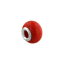 Sterling Silver and Solid Orange Murano Glass Bead