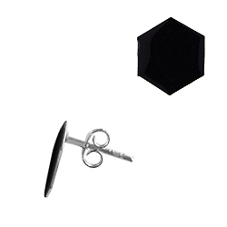 Sterling Silver Octagon Stud Earrings with Black Enamel