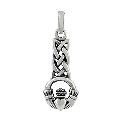 Sterling Silver Celtic Knot Claddagh Pendant