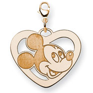14K Gold-Plated Silver Disney Mickey Heart Lobster Clasp Charm