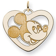 14K Gold-Plated Silver Disney Mickey Heart Charm