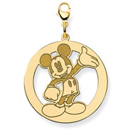 14K Gold-Plated Silver Disney Waving Mickey Lobster Clasp Charm