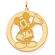 14K Gold-Plated Silver Disney Waving Mickey Charm