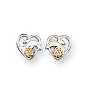 Sterling Silver  Dolphin & Heart Earrings