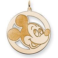 14K Gold-Plated Silver Disney Mickey Round Charm