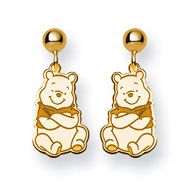 14K Gold-Plated Silver Disney Winnie the Pooh Dangle Post Earrings