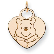 14K Gold-Plated Silver Disney Winnie The Pooh Heart Charm