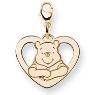 14K Gold-Plated Silver Disney Winnie The Pooh Heart Lobster Clasp Charm