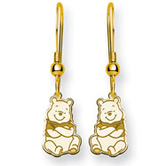 14K Gold-Plated Silver Disney Winnie the Pooh Dangle Wire Earrings